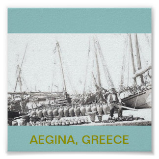 AEGINA, GREECE~OLD MAN ON BOAT WITH JARS POSTER
