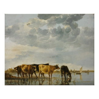Aelbert Cuyp - Cows in a River Poster