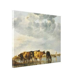 Aelbert Cuyp - vacas en un río Impresiones De Lienzo