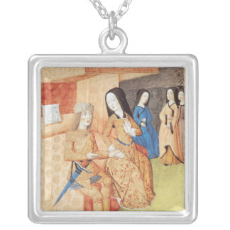 Aeneas and Dido, from the works of Virgil Square Pendant Necklace