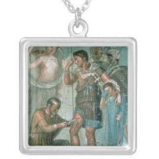 Aeneas injured, from Pompeii Square Pendant Necklace