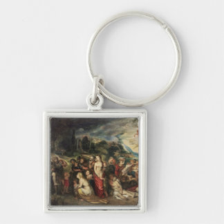 Aeneas prepares to lead the Trojans into exile Silver-Colored Square Keychain