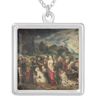 Aeneas prepares to lead the Trojans into exile Silver Plated Necklace