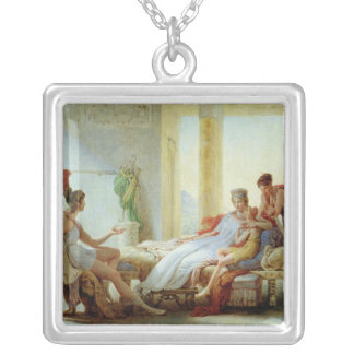 Aeneas telling Dido of the Disaster at Troy Square Pendant Necklace