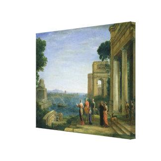 Aeneas y Dido en Cartago, 1675 Impresión En Lona Estirada