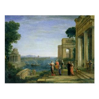 Aeneas y Dido en Cartago, 1675 Tarjeta Postal