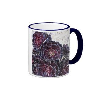 aeonium flower on dry rocks ringer ceramic mug