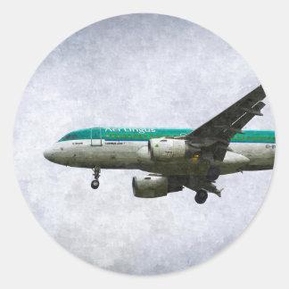 Aer Lingus Airbus A319 Art Classic Round Sticker