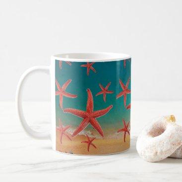 Beach Themed Aerial Beach View with Orange Starfish Coffee Mug