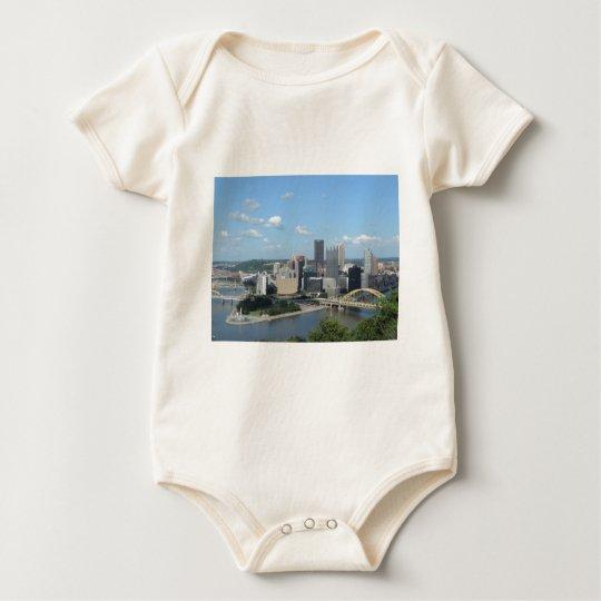 Aerial Downtown Pittsburgh Skyline Baby Bodysuit