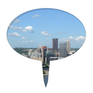 Aerial Downtown Pittsburgh Skyline Cake Topper