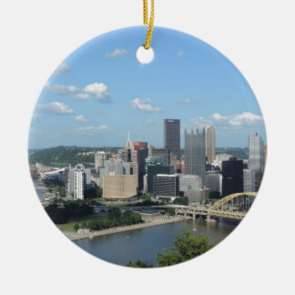 Aerial Downtown Pittsburgh Skyline Ceramic Ornament