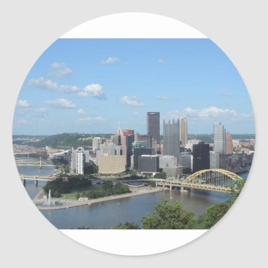 Aerial Downtown Pittsburgh Skyline Classic Round Sticker