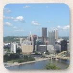 Aerial Downtown Pittsburgh Skyline Beverage Coasters