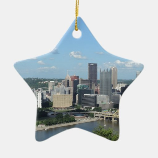 Aerial Downtown Pittsburgh Skyline Ornament