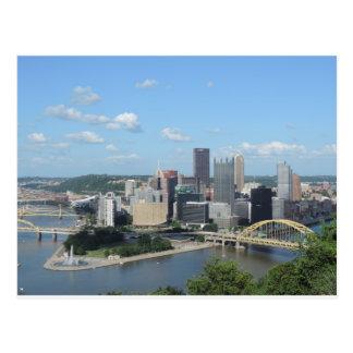Aerial Downtown Pittsburgh Skyline Postcard