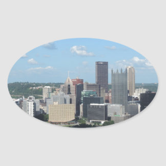Aerial Downtown Pittsburgh Skyline Stickers