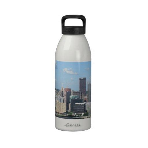Aerial Downtown Pittsburgh Skyline Drinking Bottles