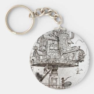 Aerial House Maison Tournante Basic Round Button Keychain