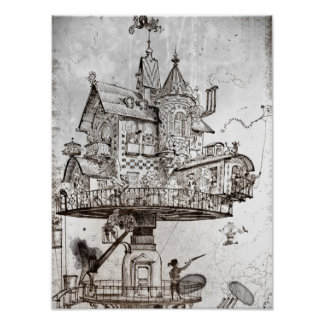 Aerial House Maison Tournante Poster