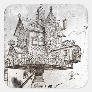 Aerial House Maison Tournante Square Sticker