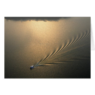 aerial image of boat in Lake Gatun Panama Greeting Card