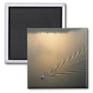 aerial image of boat in Lake Gatun Panama 2 Inch Square Magnet