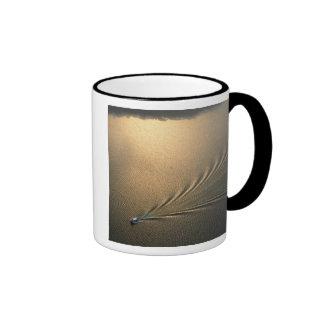 aerial image of boat in Lake Gatun Panama Ringer Coffee Mug