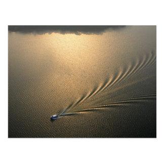 aerial image of boat in Lake Gatun Panama Postcard