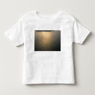 aerial image of boat in Lake Gatun Panama T-shirt