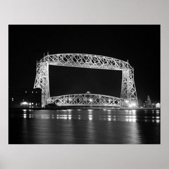Aerial Lift Bridge Black & White photo Poster