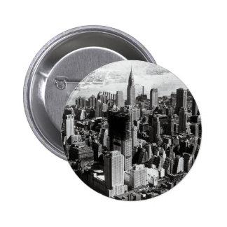 Aerial Manhattan Black & White Photograph Pinback Buttons