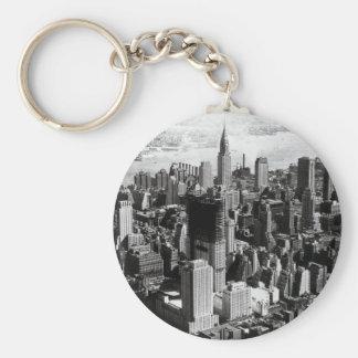 Aerial Manhattan Black White Photograph Key Chain