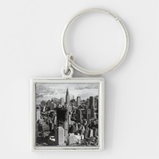 Aerial Manhattan Black White Photograph Keychains