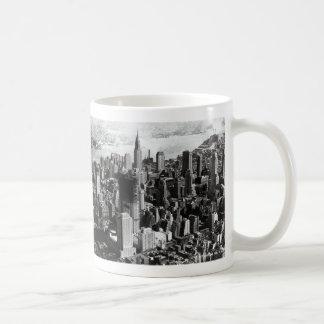 Aerial Manhattan Black & White Photograph Mugs