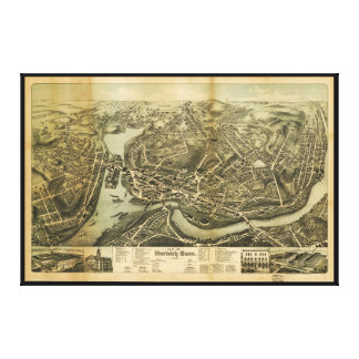 Aerial Map City of Norwich Connecticut (1876) Canvas Print