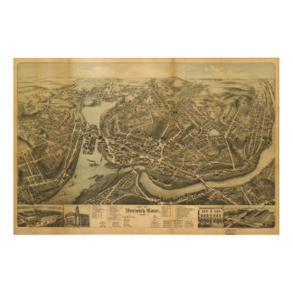 Aerial Map City of Norwich Connecticut (1876) Wood Print