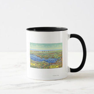 Aerial Map of Lake and Surrounding Towns Mug