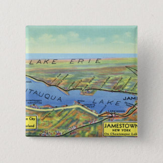 Aerial Map of Lake and Surrounding Towns Pinback Button