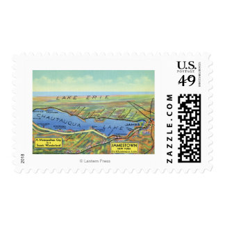 Aerial Map of Lake and Surrounding Towns Postage