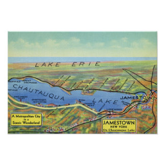 Aerial Map of Lake and Surrounding Towns Posters