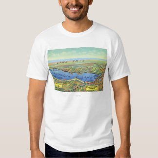 Aerial Map of Lake and Surrounding Towns T-shirt