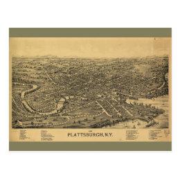 Aerial Map of Plattsburgh New York (1899) Postcard