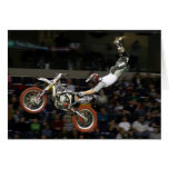 aerial moto-cross #1 with crowd greeting card