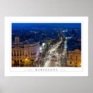 Aerial night view of La Rambla (poster)