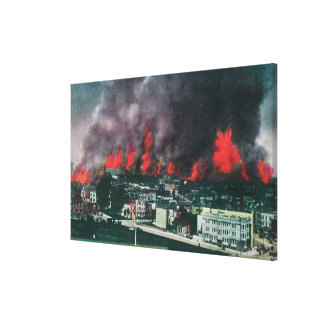 Aerial of City Ablaze During 1906 Fire Canvas Print