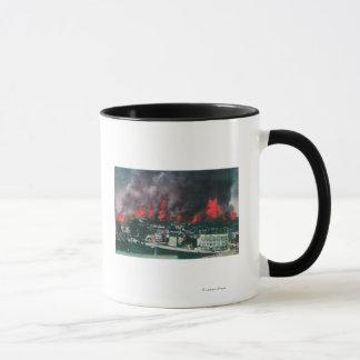 Aerial of City Ablaze During 1906 Fire Mug