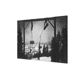 Aerial of City from Crouse Mountain Chairlift Stretched Canvas Prints