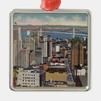 Aerial of Downtown, Bay Bridge View Metal Ornament