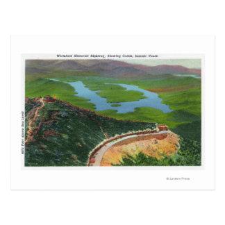 Aerial of Memorial Hwy, Castle, Summit House Postcard